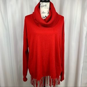 Michael by MK Red Fringed Sweater Size M